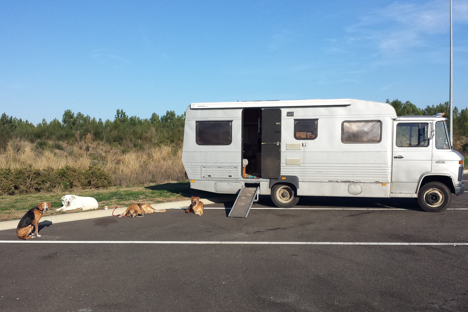 having a break in France on the way to Spain (my old motorhome, 2016)